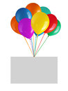 Flying balloons with blank card isolated on white background Royalty Free Stock Images