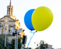 Flying balloons with colors of flag of Ukraine Royalty Free Stock Photo