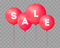 Flying balloons, concept of SALE for shops. Four red flying party balloons with text SALE on transparent