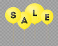 Flying balloons, concept of SALE for shops. Four Yellow flying party balloons with text SALE on transparent
