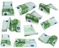 Flying banknote 100 one hundred euro isolated Royalty Free Stock Photo