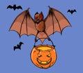 Flying Bat Bring Pumpkin Lantern