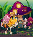 A flying bee near the enchanted mushroom house illustration of Stock Photography