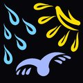 Flying bird, rain and sun on a black background