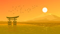 Flying birds against orange sunset ocer coast japanese gate tor vector illustration background of torii and hot sun and mountain Royalty Free Stock Photo