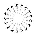 Flying birds and branch silhouettes on white background. Vector