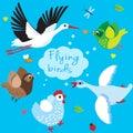 Flying Birds. Cartoon Vector Illustration.
