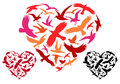 Flying birds heart vector colorful in shape illustration Royalty Free Stock Image