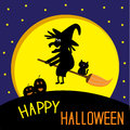 Flying black witch and cat big moon happy halloween card vector illustration Stock Photo