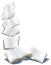 Flying books open over abstract white background Stock Photos