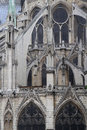 Flying buttress architectural views from the back of the cathedral notre dame de paris Stock Photography