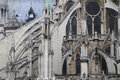 Flying buttress in notre dame cathedral architectural horizntal view from the back of the de paris Royalty Free Stock Photography