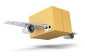 Flying cardboard box on white background quick delivery concept d rendering illustration Royalty Free Stock Image