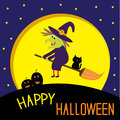 Flying cartoon witch and cat big moon happy halloween card vector illustration Stock Images