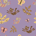 Flying cats. Seamless pattern in cartoon style. Colorful