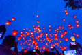 Flying Chinese Sky Lanterns Royalty Free Stock Photo