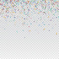 Flying christmas confetti, anniversary celebration, happy birthday party vector background