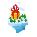 Flying christmas island gift and christmas tree for fantastic earth part of land flies in air snowman big box new year Royalty Free Stock Photography