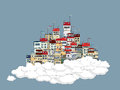 Flying city in the clouds theme background Stock Image