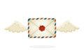 Flying closed vintage mail envelope with wax seal and wings