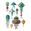Flying colorful kite vector illustration. Royalty Free Stock Photo