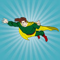 Flying comic book hero Stock Images