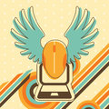 Flying computer mouse illustration in retro style colors with wings Royalty Free Stock Photos