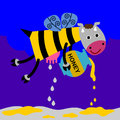 Flying cow bee s body delivering milk honey Royalty Free Stock Photos