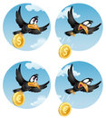 The flying crow drops the coin dollar or euro