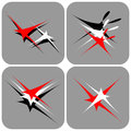 Flying and dancing stars. Icons set. Royalty Free Stock Images