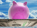 Flying dollar pig shows high flying success showing Stock Images