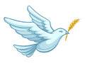 Flying dove bird with wheat ear vector in the bill as a symbol of peace eps illustration Stock Photos