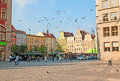 The flying doves wroclaw poland september fly over medieval salt square located next to marketplace on september in wroclaw Stock Images