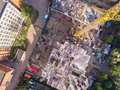 Flying drone over civil construction site in progress Royalty Free Stock Photo