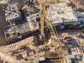 Flying drone over construction site Royalty Free Stock Photo