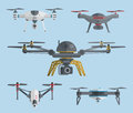 Flying drones collection. Vector illustration.