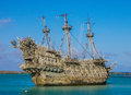 Flying dutchman disney s castaway cays lagoon the from the pirates of the caribbean movie in bahamas Stock Photos