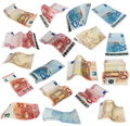 Flying Euro banknotes isolated on white Royalty Free Stock Photo