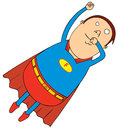 Flying fat super hero Stock Photo