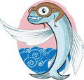 Flying fish aviator cartoon of a with cap Stock Photos