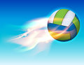 Flying Flaming Volleyball in Sky Illustration Royalty Free Stock Photo