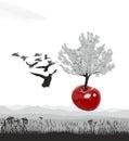 Flying flowering Cherry tree of cherries