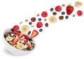 Flying fruit muesli for breakfast with fruits like banana and st Royalty Free Stock Photo