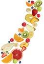 Flying fruits like apples fruit, oranges, banana and strawberry Royalty Free Stock Photo