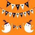 Flying ghost spirit holding bunting flag Boo. Happy Halloween. Two scary white ghosts. Witch hat. Cute cartoon spooky character. S Royalty Free Stock Photo