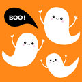 Flying ghost spirit set. Three scary white ghosts. Boo Happy Halloween. Royalty Free Stock Photo