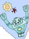 Flying Giant Robot Royalty Free Stock Images
