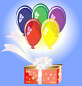 Flying gift box Royalty Free Stock Photos