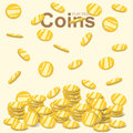 Flying golden coins, falling gold coin, money stack, flat design vector Royalty Free Stock Photo