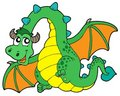 Flying green dragon Stock Image